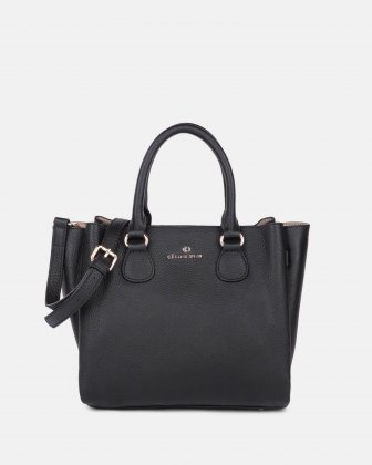 ADAGIO - LEATHER SATCHEL BAG with three compartiments - Black Céline Dion