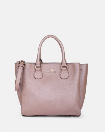 ADAGIO - LEATHER SATCHEL BAG with three compartiments - ROSEGOLD Céline Dion