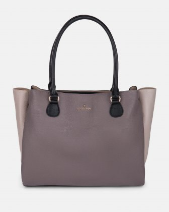 ADAGIO - LEATHER TOTE BAG with triple entry opening - TAUPE COMBO Céline Dion