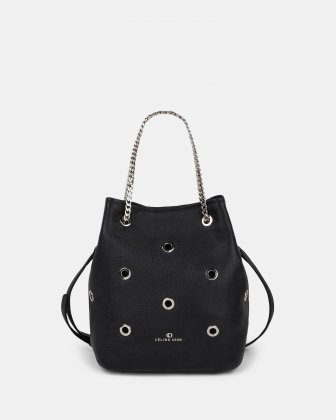 FALSETTO - LEATHER SATCHEL bag with chain handle & removable and adjustable leather strap  - BLACK Céline Dion