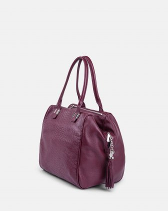 ELEGY - LEATHER SATCHEL – WINE Céline Dion