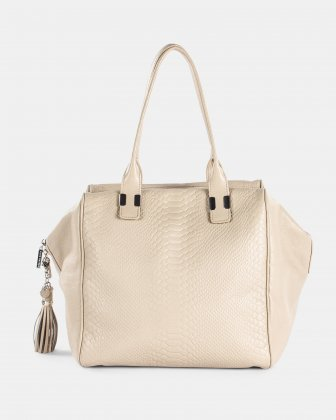 Elegy - Smooth and croco embossed leather SATCHEL - SAND Céline Dion