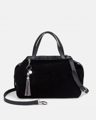 MEZZO – SUEDE AND LEATHER SATCHEL - Black/BlueSnake Céline Dion