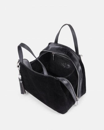 MEZZO – SUEDE AND LEATHER SATCHEL with Adjustable and removable crossbody strap - Black/BlueSnake Céline Dion