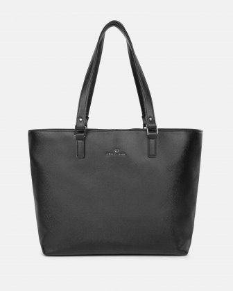 CHORUS - Saffiano leather-like TOTE BAG with removable zippered pocket- BLACK Céline Dion