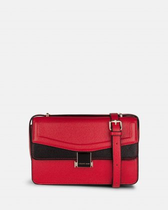 Scale – Leather-like flap bag - red Céline Dion