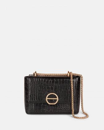 SONATA - Croco embossed leather-like crossbody bag - Black Céline Dion