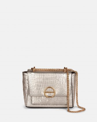 SONATA - Croco embossed leather-like crossbody bag - Gold Céline Dion