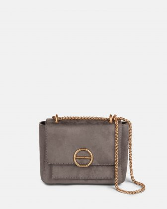 SONATA - Suede-like crossbody bag with multiple pockets - Grey Céline Dion