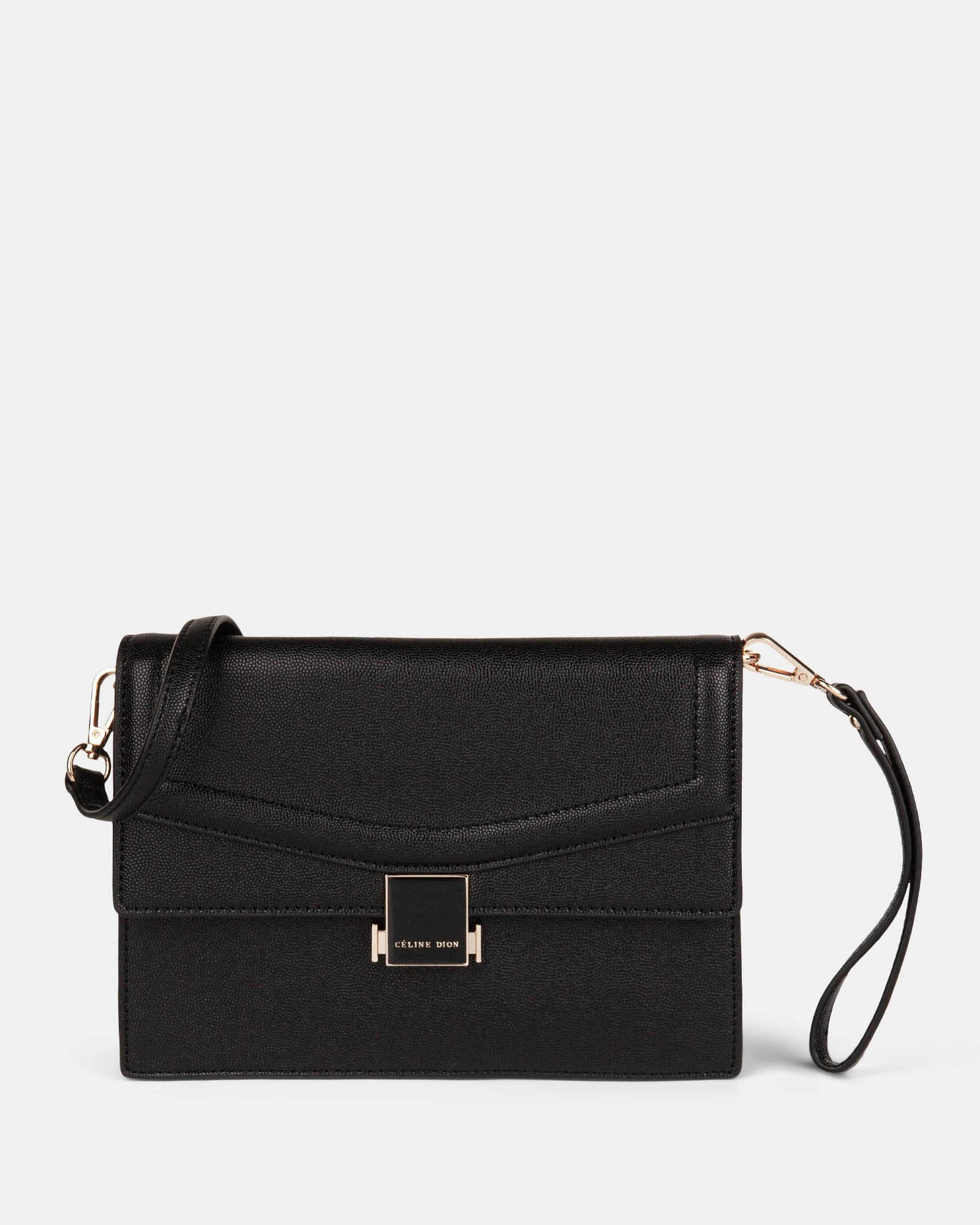Scale – Leather-like clutch bag - Black - Céline Dion - Zoom