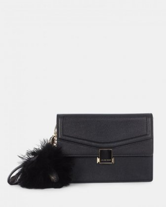 Scale – Leather-like clutch bag - Black - Céline Dion