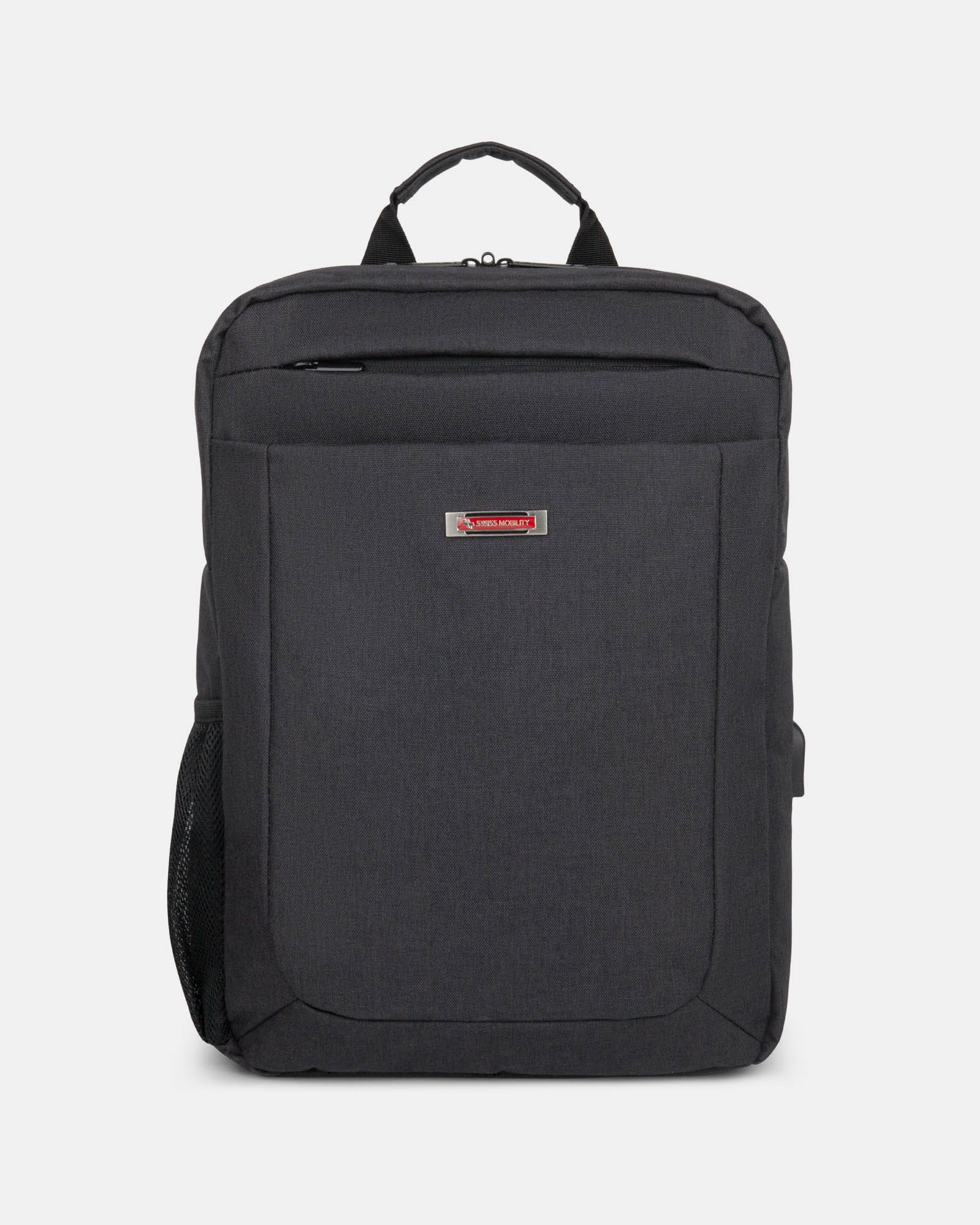 CADENCE - 15.6 in computer Backpack with USB port - Charcoal - Swiss Mobility - Zoom