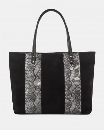 ARDORE - LEATHER TOTE BAG with magnetic closure - BLACK Céline Dion