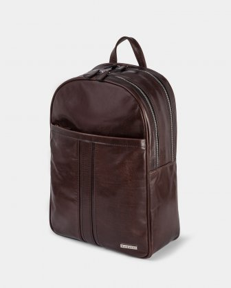 PORTO - WAXED LEATHER BACKPACK FOR 14 IN PADDED LAPTOP - BROWN Bugatti