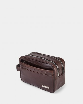 PORTO - WAXED LEATHER TOILETRY BAG with Quick access front pocket - BROWN Bugatti