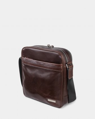 "PORTO - WAXED LEATHER CROSSBODY FOR 10"" TABLET - BROWN Bugatti"