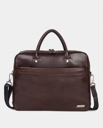 PORTO - WAXED LEATHER BRIEFCASE FOR 15.6 IN LAPTOP & TABLET - BROWN - Bugatti