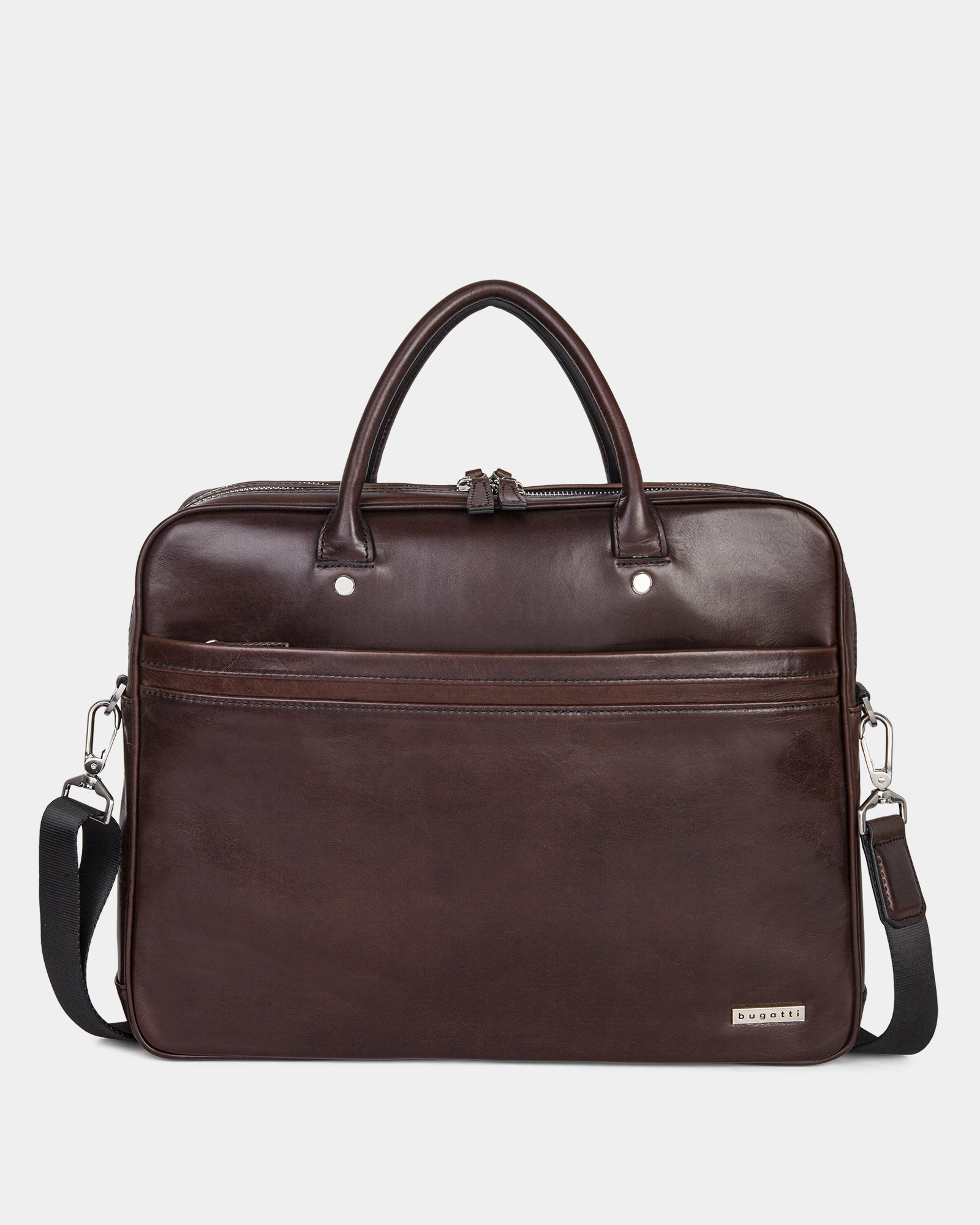 PORTO - WAXED LEATHER BRIEFCASE FOR 15.6 IN LAPTOP & TABLET - BROWN - Bugatti - Zoom