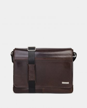 "PORTO - WAXED LEATHER MESSENGER BAG FOR 14"" laptop - BROWN Bugatti"