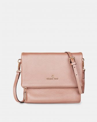 ADAGIO - LEATHER CROSSBODY BAG with Back zippered pocket - ROSEGOLD Céline Dion
