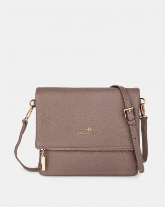 ADAGIO - LEATHER CROSSBODY BAG with Back zippered pocket - TAUPE Céline Dion