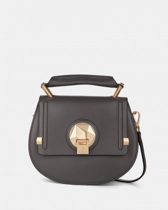 OCTAVE- LEATHER HANDLE BAG with Removable and adjustable strap - GREY Céline Dion