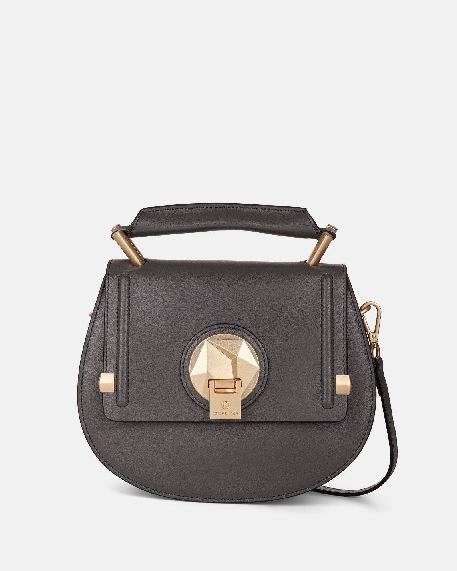 OCTAVE- LEATHER HANDLE BAG with Removable and adjustable strap - GREY - Céline Dion - Zoom