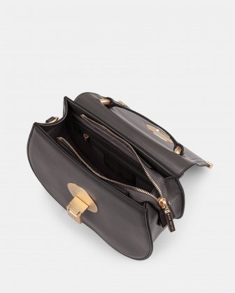 OCTAVE- LEATHER HANDLE BAG with Removable and adjustable strap - GREY - Céline Dion