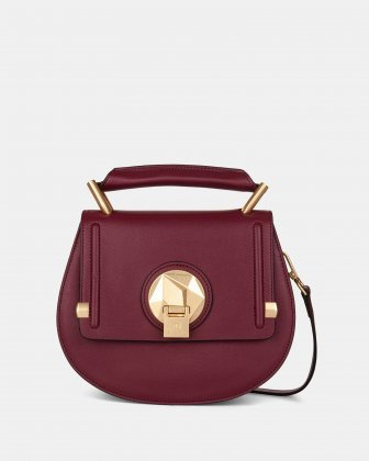 OCTAVE - LEATHER HANDLE BAG with Removable and adjustable strap - BORDO Céline Dion