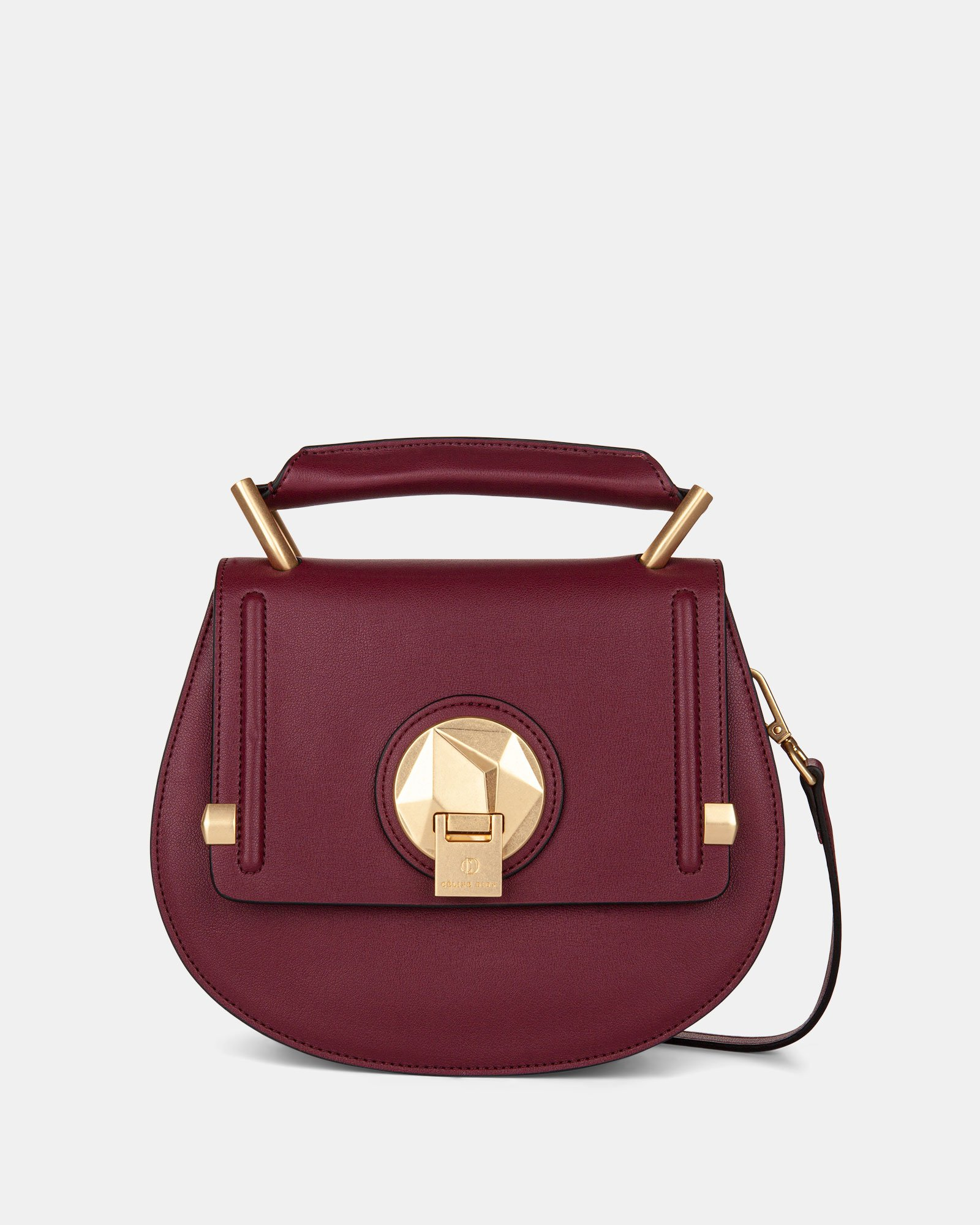 OCTAVE - LEATHER HANDLE BAG with Removable and adjustable strap - BORDO - Céline Dion - Zoom