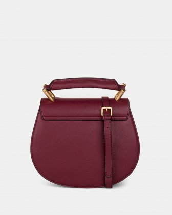 OCTAVE - LEATHER HANDLE BAG with Removable and adjustable strap - BORDO - Céline Dion