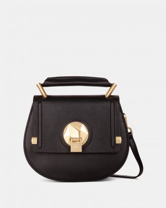 OCTAVE - LEATHER HANDLE BAG with Removable and adjustable strap - BLACK Céline Dion