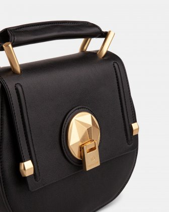 OCTAVE - LEATHER HANDLE BAG with Removable and adjustable strap - BLACK - Céline Dion