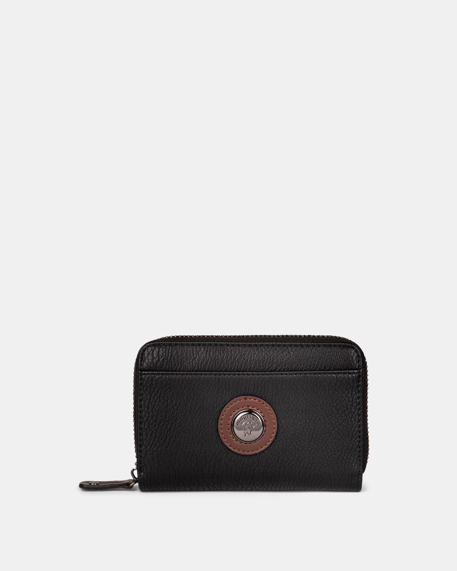 ORIGINAL - LEATHER LIKE WALLET with Zip aound wallet - BLACK / BROWN - Mouflon - Zoom