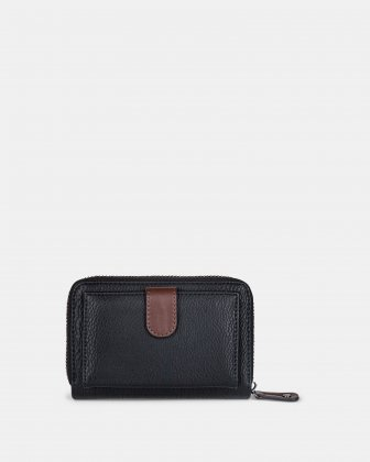 ORIGINAL - LEATHER LIKE WALLET with Zip aound wallet - BLACK / BROWN - Mouflon