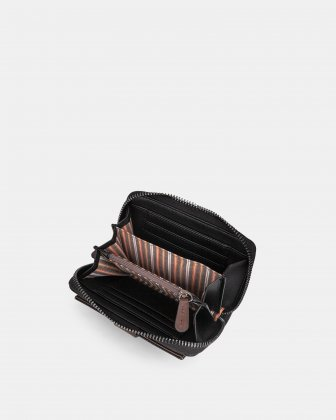 ORIGINAL - LEATHER LIKE WALLET with Zip aound wallet - BLACK / BROWN Mouflon