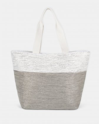 Aloha - Beach Tote bag with Main zippered compartment - Silver - Joanel