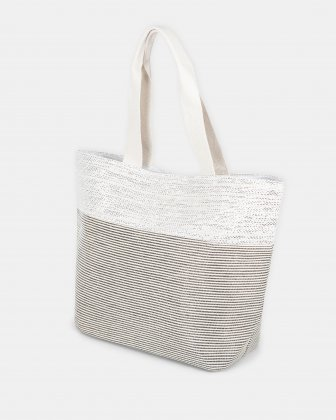 Aloha - Beach Tote bag with Main zippered compartment - Silver Joanel