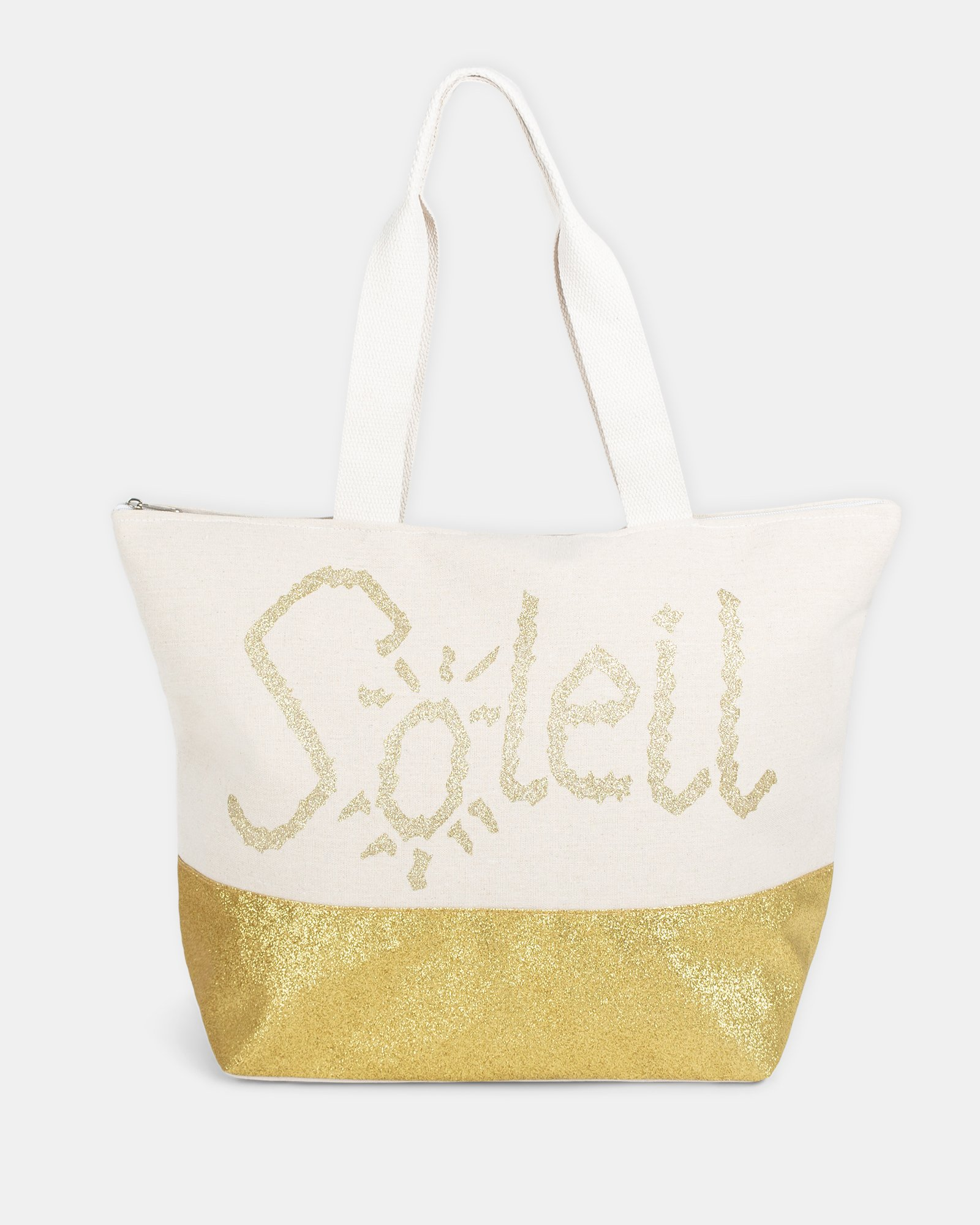 Aloha - Beach Tote bag (SOLEIL) with Main zippered compartment - Gold - Joanel - Zoom