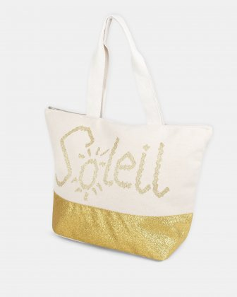 Aloha - Beach Tote bag (SOLEIL) with Main zippered compartment - Gold Joanel