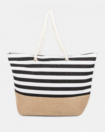 Aloha - Black stripes beach tote bag with Main zippered compartment - Black Joanel