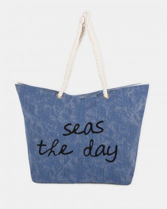 "Aloha - Beach tote bag ""Seas the day"" with Main zippered compartment - Blue Joanel"