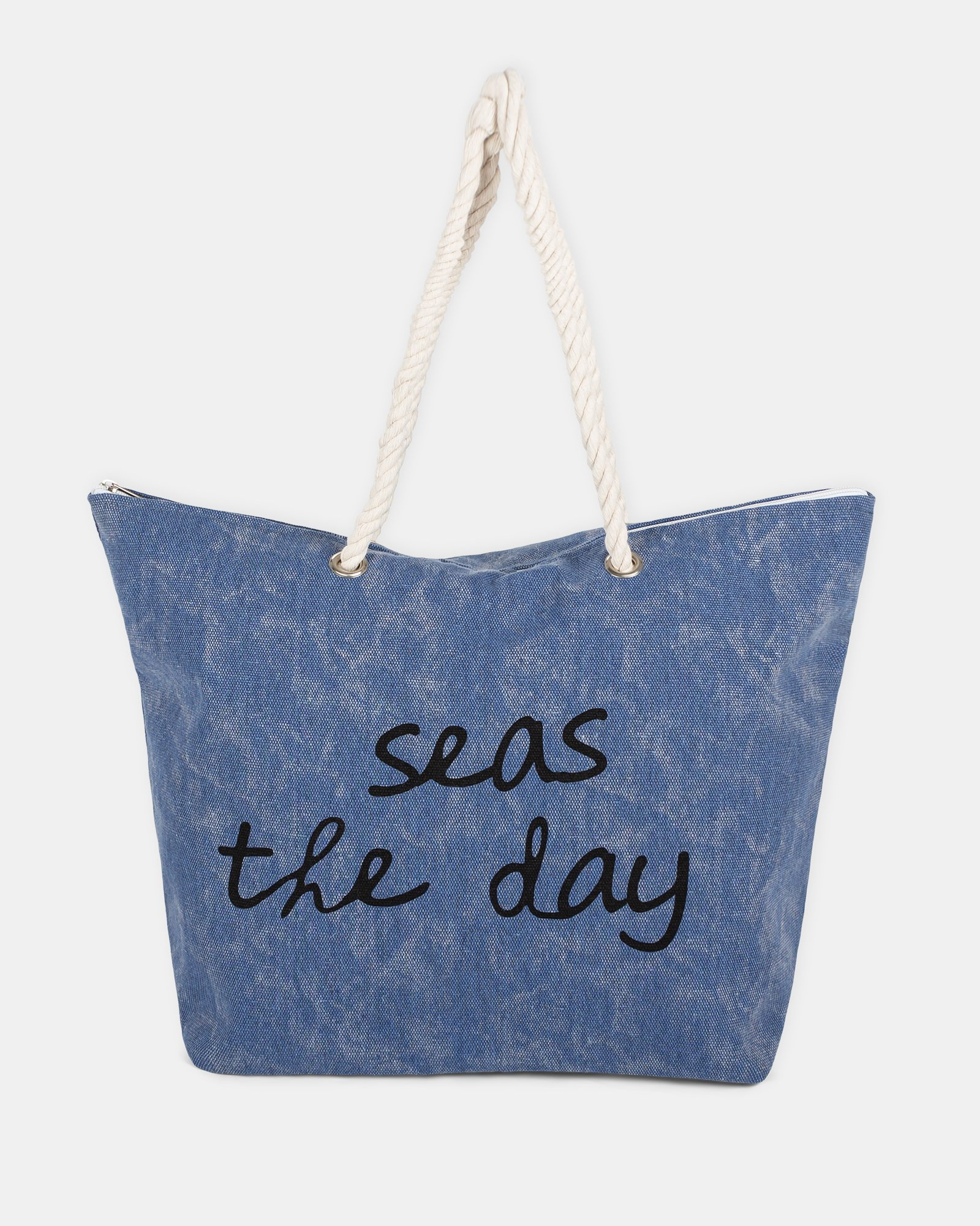 """Aloha - Beach tote bag """"Seas the day"""" with Main zippered compartment - Blue - Joanel - Zoom"""