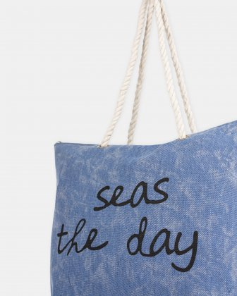 """Aloha - Beach tote bag """"Seas the day"""" with Main zippered compartment - Blue - Joanel"""