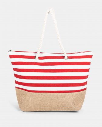 Aloha - Red stripeS BEACH tote bag WITH Main zippered compartment - RED Joanel