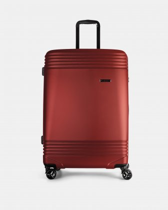 "NASHVILLE - 30"" HARDSIDE LUGGAGE in 100% recycled plastic with TSA lock - Red Bugatti"