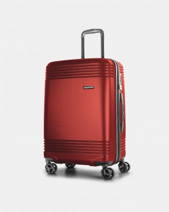 "NASHVILLE - 25.75"" HARDSIDE LUGGAGE in 100% recycled plastic with TSA lock - Red Bugatti"