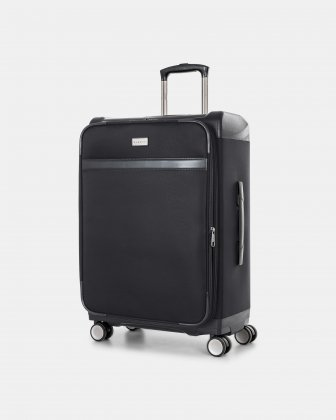 "WASHINGTON -  25"" HYBRID CARRY-ON HARDSIDE/SOFTSIDE with tsa lock- Black Bugatti"