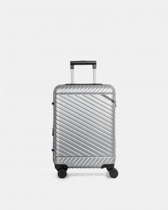 "MOSCOW -  20.75"" HARDSIDE CARRY-ON 100% POLYCARBONATE WITH TSA LOCK - SILVER Bugatti"