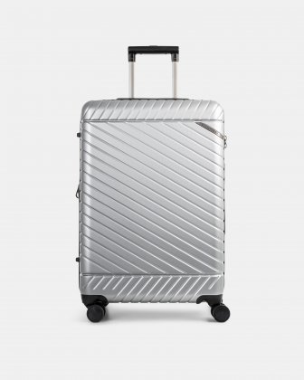 "MOSCOW -  25"" HARDSIDE CARRY-ON 100% POLYCARBONATE WITH TSA LOCK - SILVER Bugatti"